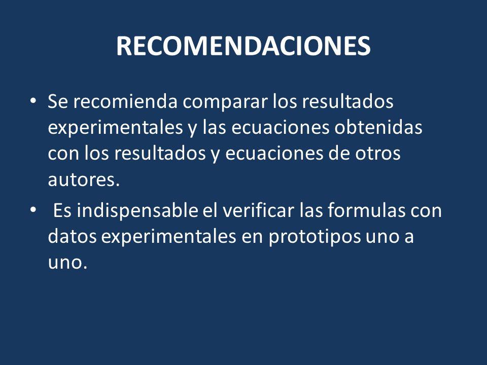 RECOMENDACIONES Se recomienda comparar los resultados experimentales y las ecuaciones obtenidas con los resultados y ecuaciones de otros autores.