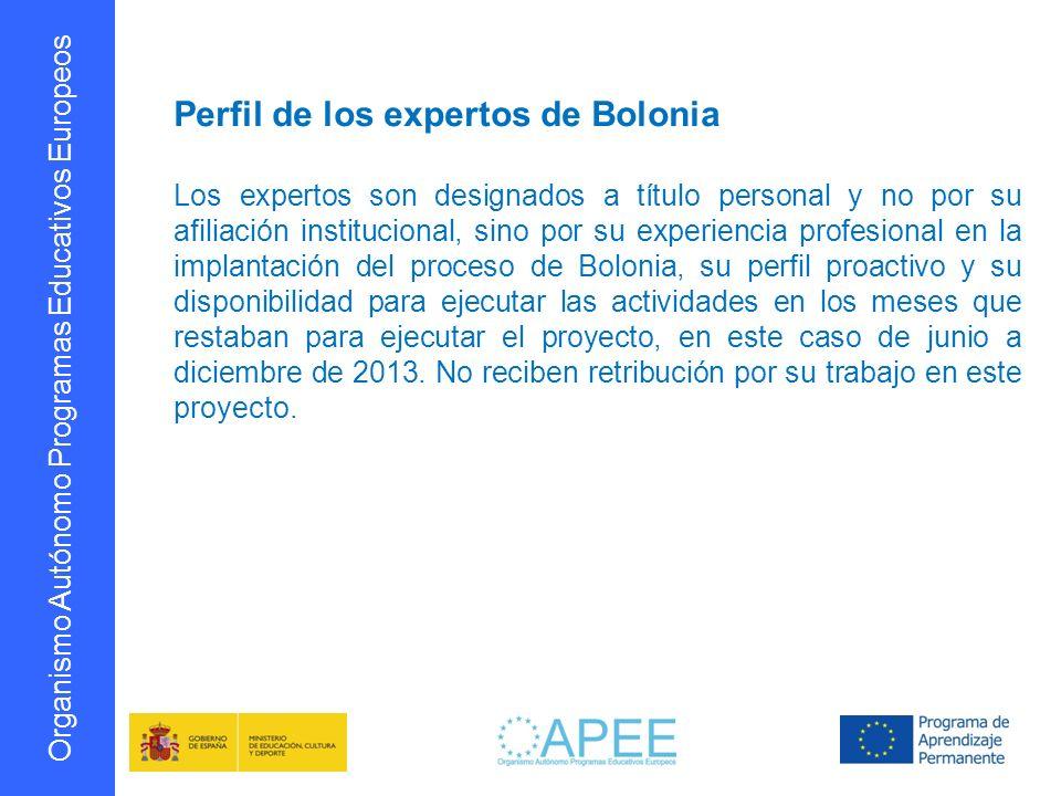 Perfil de los expertos de Bolonia
