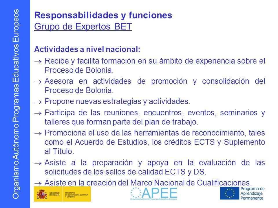 Responsabilidades y funciones Grupo de Expertos BET