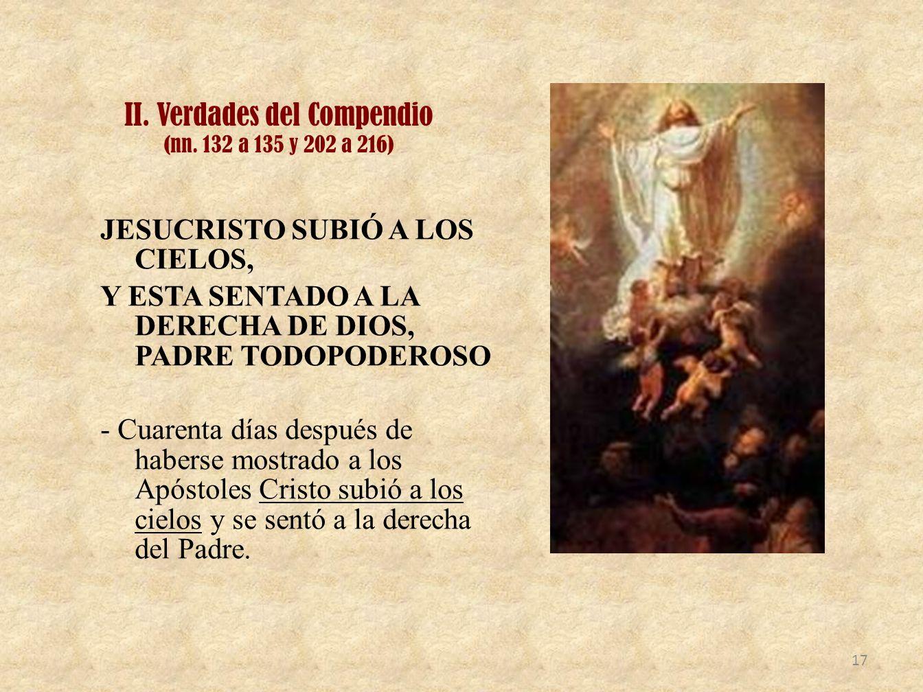 II. Verdades del Compendio (nn. 132 a 135 y 202 a 216)