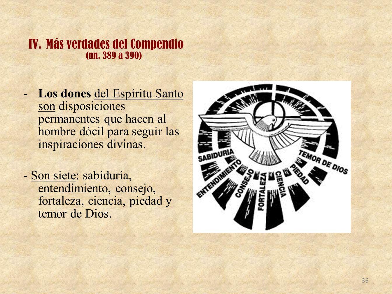 Más verdades del Compendio (nn. 389 a 390)