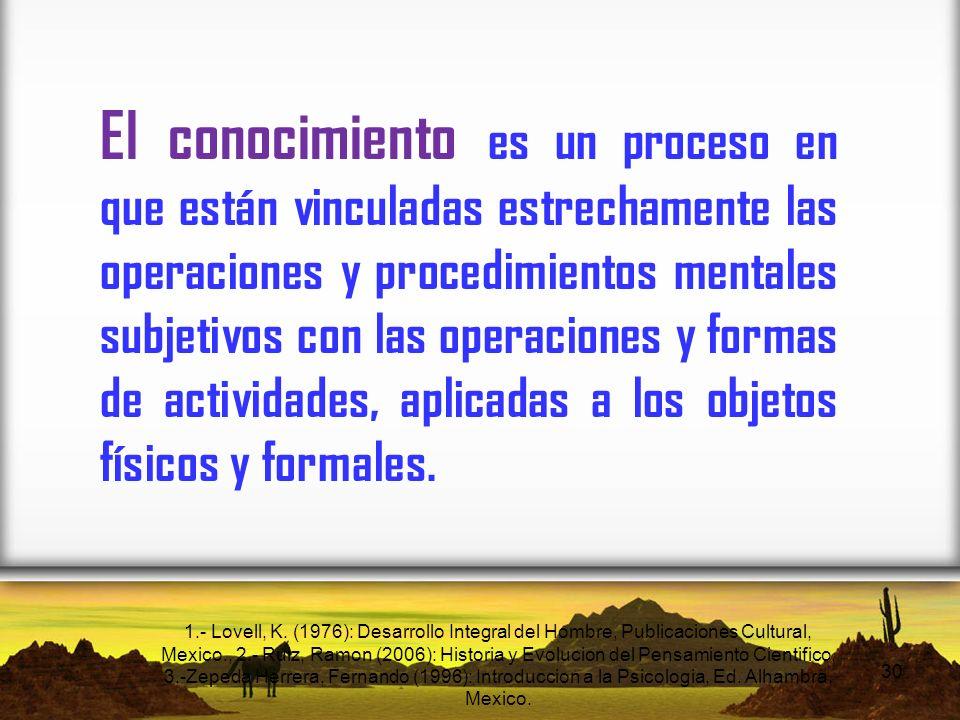 El conocimiento es un proceso en que están vinculadas estrechamente las operaciones y procedimientos mentales subjetivos con las operaciones y formas de actividades, aplicadas a los objetos físicos y formales.