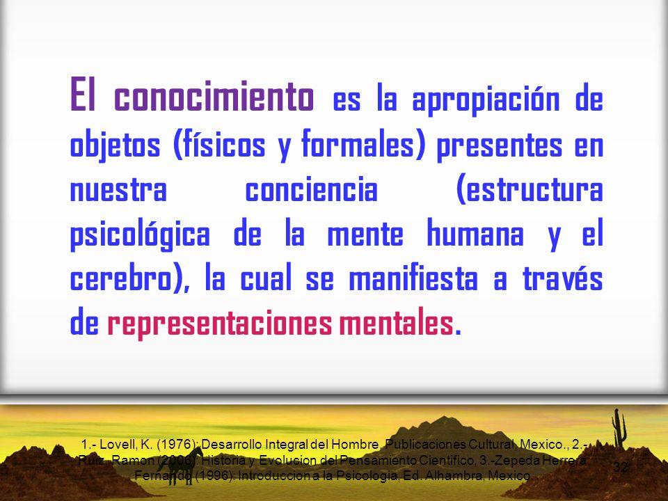 El conocimiento es la apropiación de objetos (físicos y formales) presentes en nuestra conciencia (estructura psicológica de la mente humana y el cerebro), la cual se manifiesta a través de representaciones mentales.