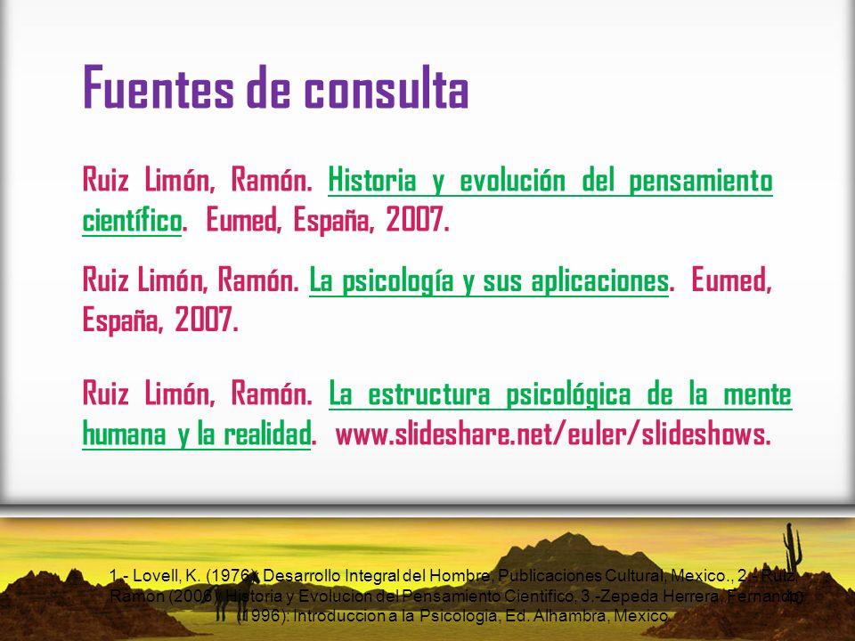 Fuentes de consulta Ruiz Limón, Ramón. Historia y evolución del pensamiento científico. Eumed, España, 2007.