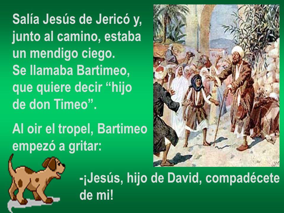 Salía Jesús de Jericó y, junto al camino, estaba. un mendigo ciego. Se llamaba Bartimeo, que quiere decir hijo.