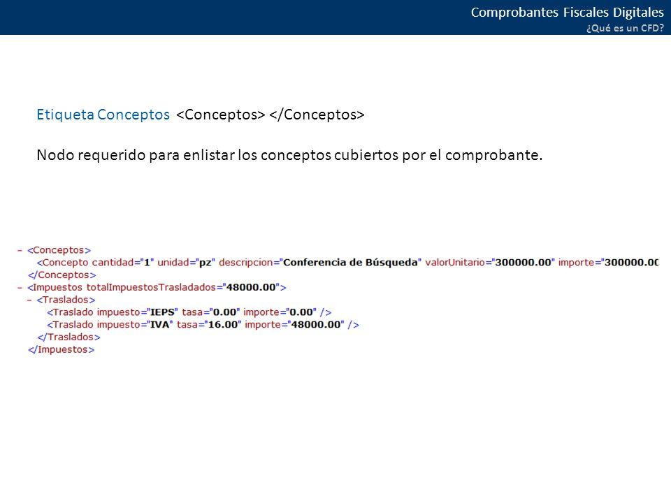 Etiqueta Conceptos <Conceptos> </Conceptos>