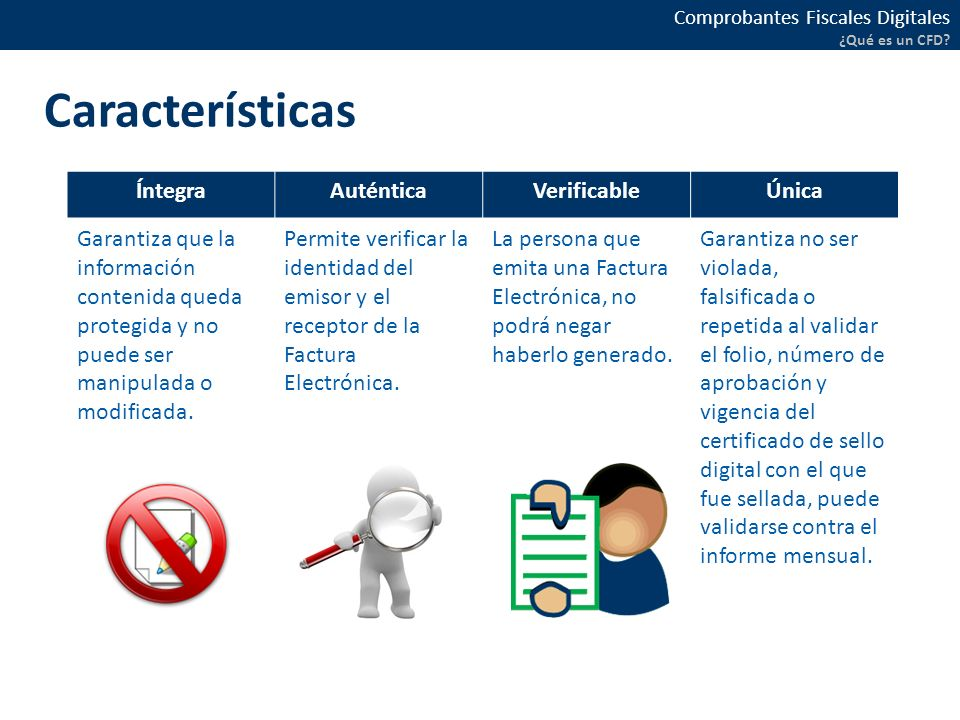Características Íntegra Auténtica Verificable Única