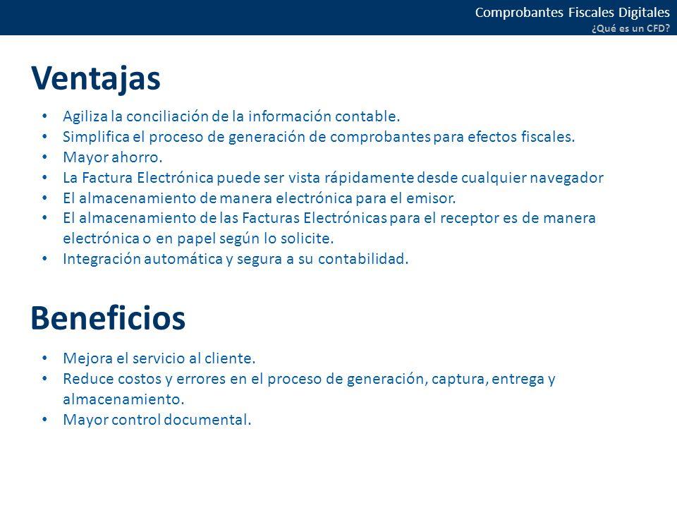 Ventajas Agiliza la conciliación de la información contable. Simplifica el proceso de generación de comprobantes para efectos fiscales.