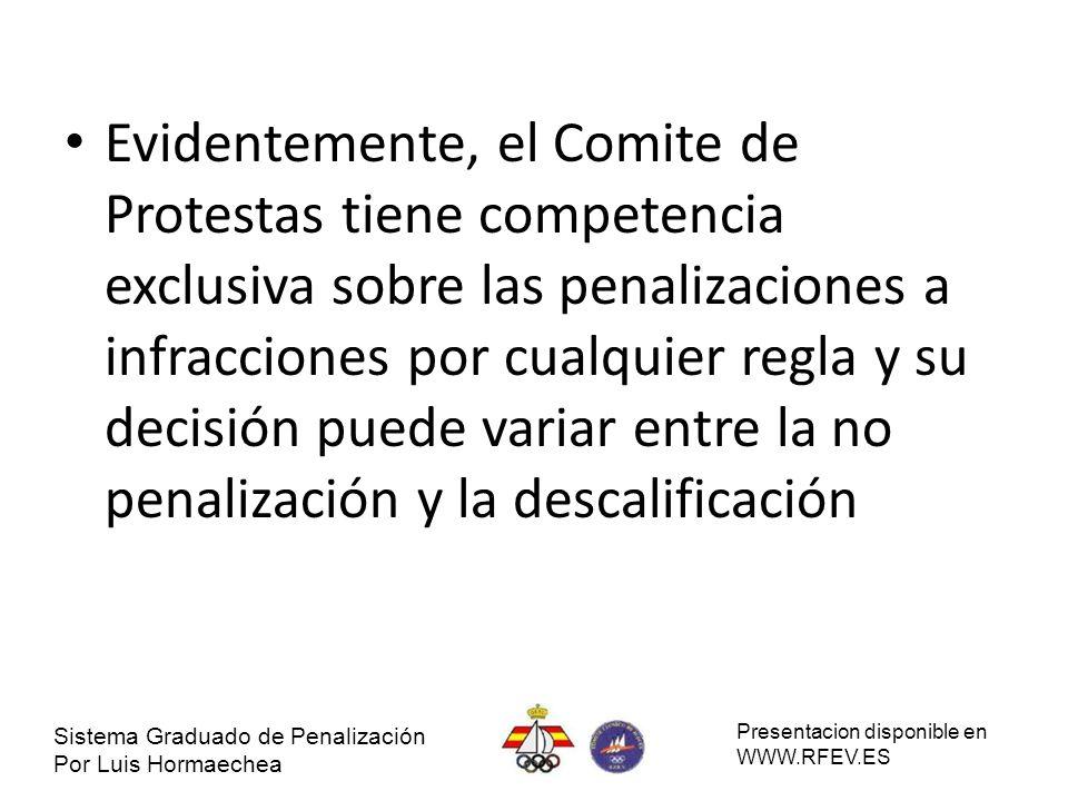 Evidentemente, el Comite de Protestas tiene competencia exclusiva sobre las penalizaciones a infracciones por cualquier regla y su decisión puede variar entre la no penalización y la descalificación