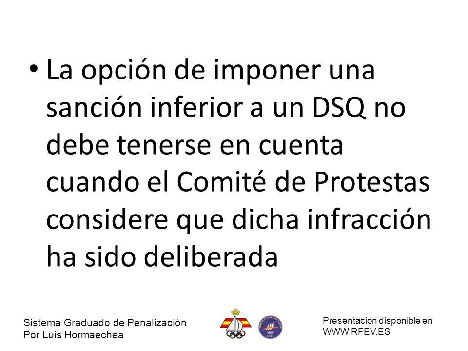 La opción de imponer una sanción inferior a un DSQ no debe tenerse en cuenta cuando el Comité de Protestas considere que dicha infracción ha sido deliberada