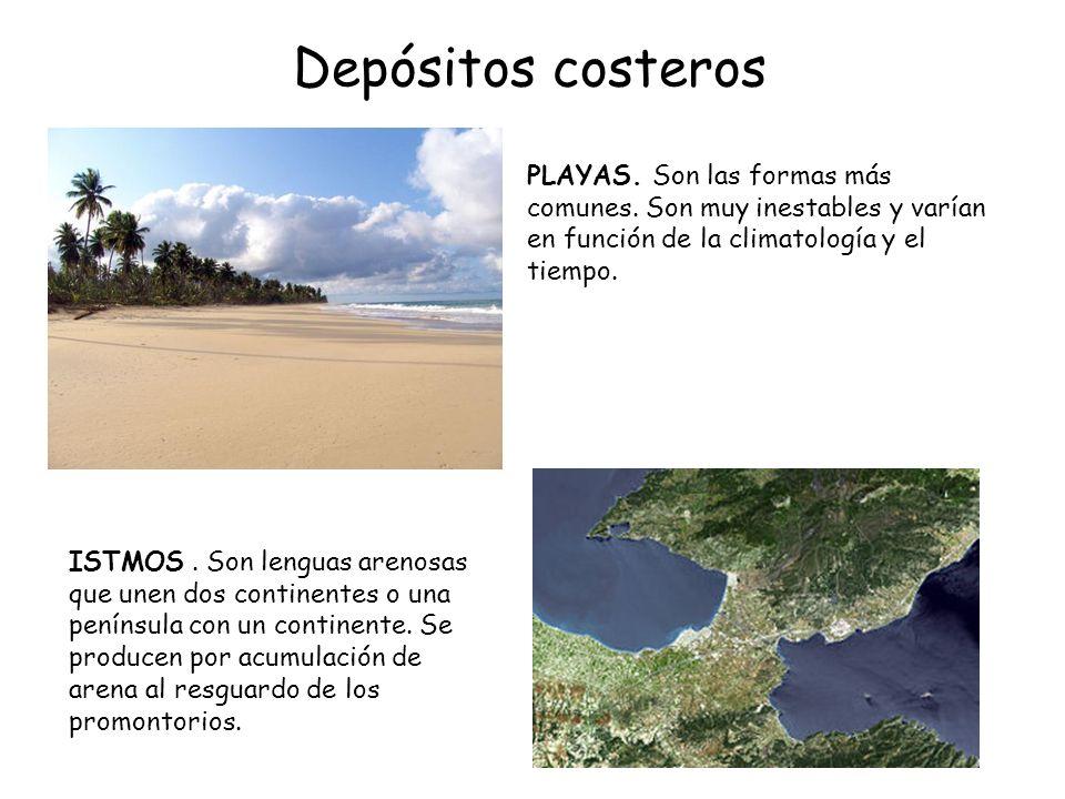 Depósitos costeros PLAYAS. Son las formas más comunes. Son muy inestables y varían en función de la climatología y el tiempo.