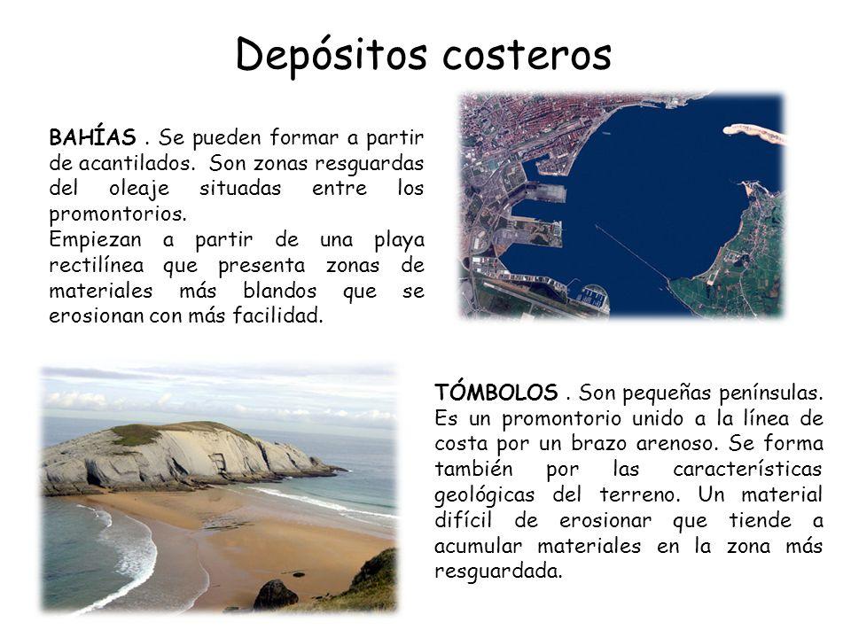 Depósitos costeros BAHÍAS . Se pueden formar a partir de acantilados. Son zonas resguardas del oleaje situadas entre los promontorios.