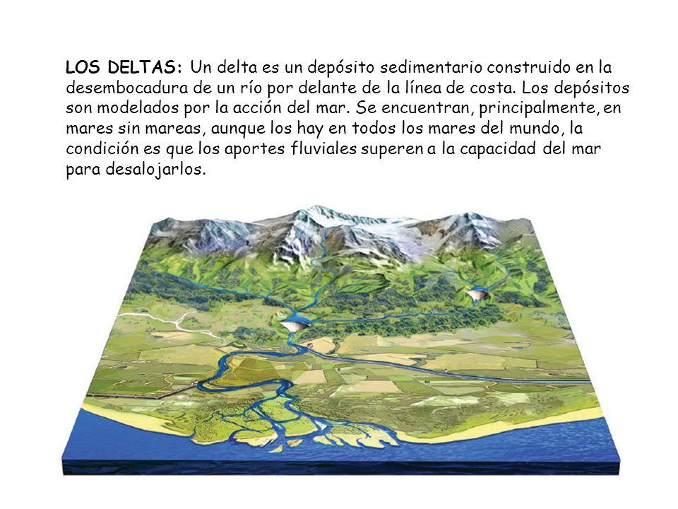 LOS DELTAS: Un delta es un depósito sedimentario construido en la desembocadura de un río por delante de la línea de costa.