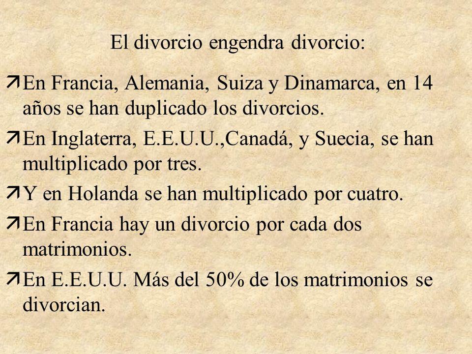 El divorcio engendra divorcio: