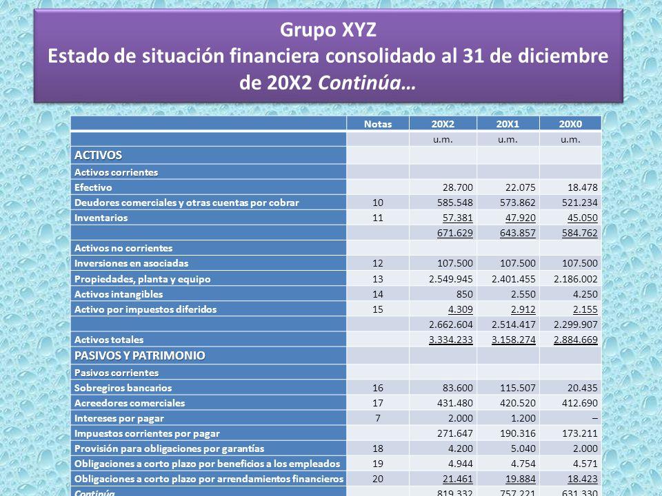 Grupo XYZ Estado de situación financiera consolidado al 31 de diciembre de 20X2 Continúa…