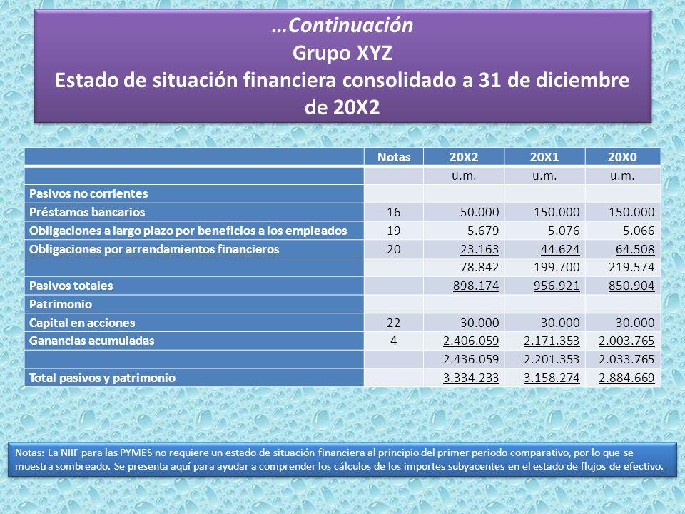 …Continuación Grupo XYZ Estado de situación financiera consolidado a 31 de diciembre de 20X2