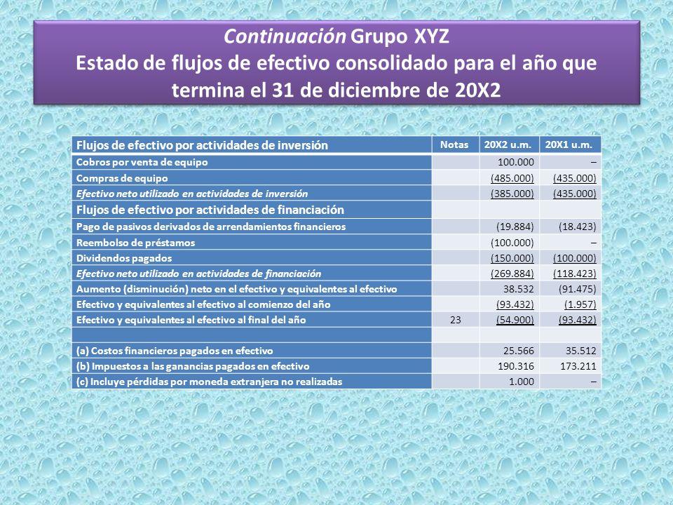Continuación Grupo XYZ Estado de flujos de efectivo consolidado para el año que termina el 31 de diciembre de 20X2