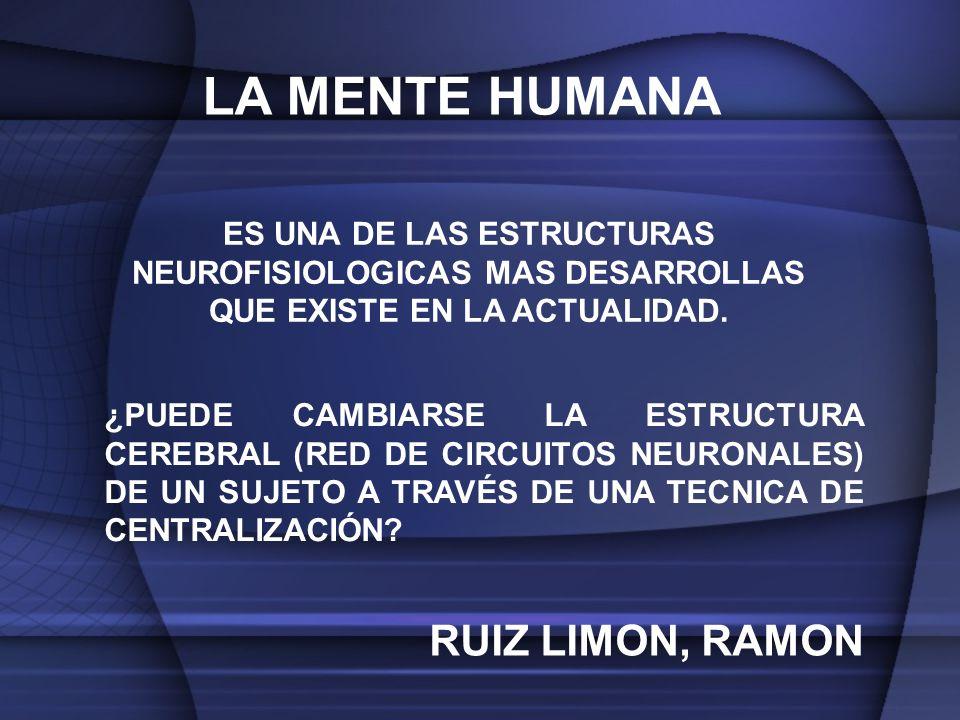 LA MENTE HUMANA RUIZ LIMON, RAMON