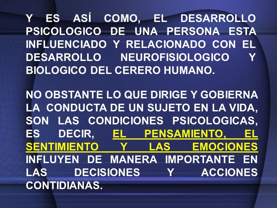 Y ES ASÍ COMO, EL DESARROLLO PSICOLOGICO DE UNA PERSONA ESTA INFLUENCIADO Y RELACIONADO CON EL DESARROLLO NEUROFISIOLOGICO Y BIOLOGICO DEL CERERO HUMANO.