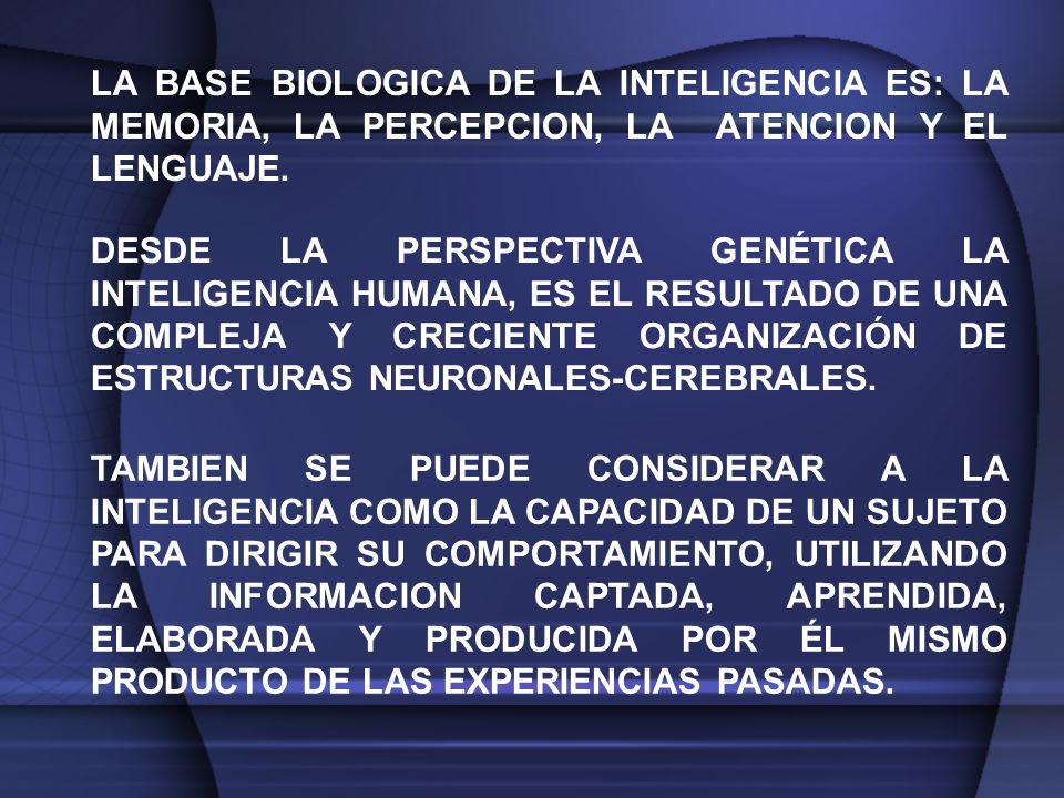LA BASE BIOLOGICA DE LA INTELIGENCIA ES: LA MEMORIA, LA PERCEPCION, LA ATENCION Y EL LENGUAJE.