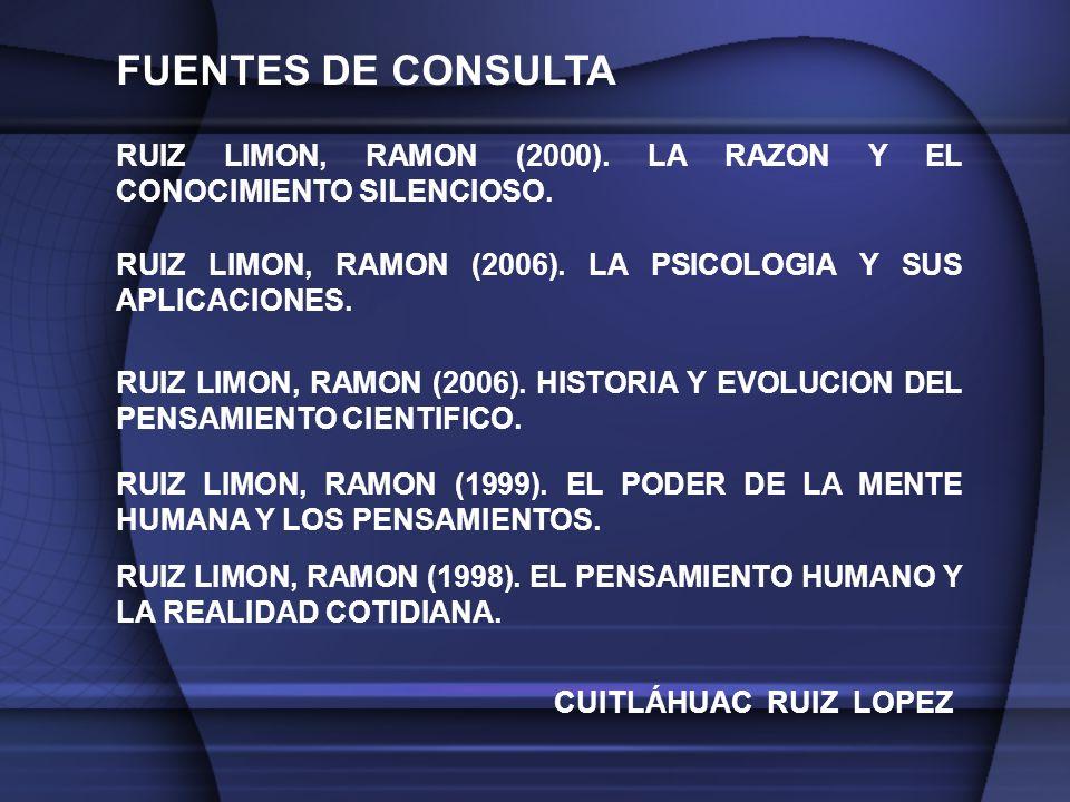 FUENTES DE CONSULTA RUIZ LIMON, RAMON (2000). LA RAZON Y EL CONOCIMIENTO SILENCIOSO. RUIZ LIMON, RAMON (2006). LA PSICOLOGIA Y SUS APLICACIONES.