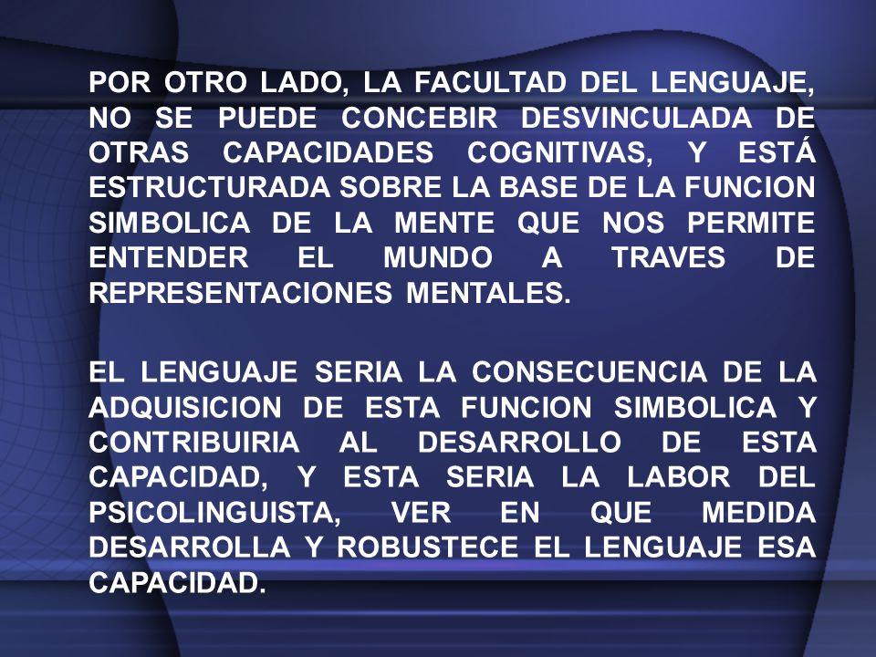 POR OTRO LADO, LA FACULTAD DEL LENGUAJE, NO SE PUEDE CONCEBIR DESVINCULADA DE OTRAS CAPACIDADES COGNITIVAS, Y ESTÁ ESTRUCTURADA SOBRE LA BASE DE LA FUNCION SIMBOLICA DE LA MENTE QUE NOS PERMITE ENTENDER EL MUNDO A TRAVES DE REPRESENTACIONES MENTALES.