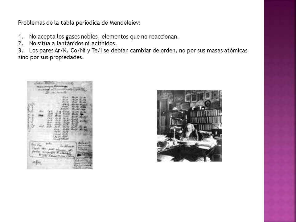 Problemas de la tabla periódica de Mendeleiev:
