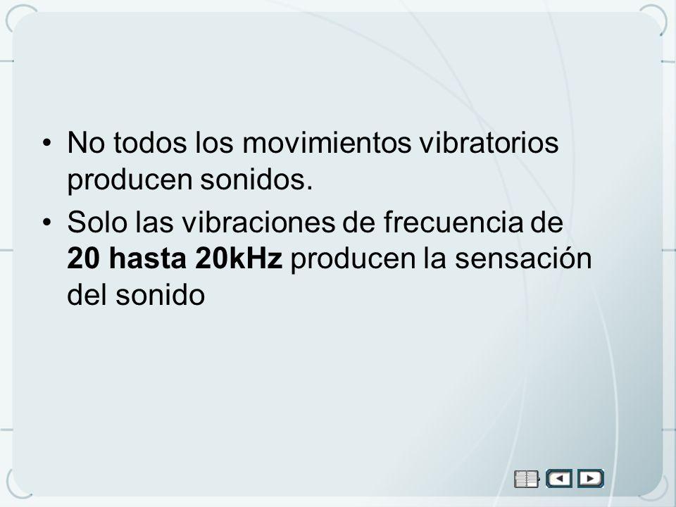 No todos los movimientos vibratorios producen sonidos.