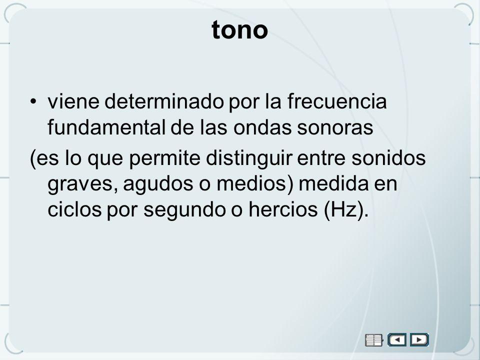 tono viene determinado por la frecuencia fundamental de las ondas sonoras.