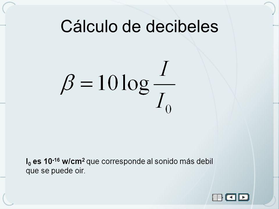 Cálculo de decibeles I0 es 10-16 w/cm2 que corresponde al sonido más debil que se puede oir.