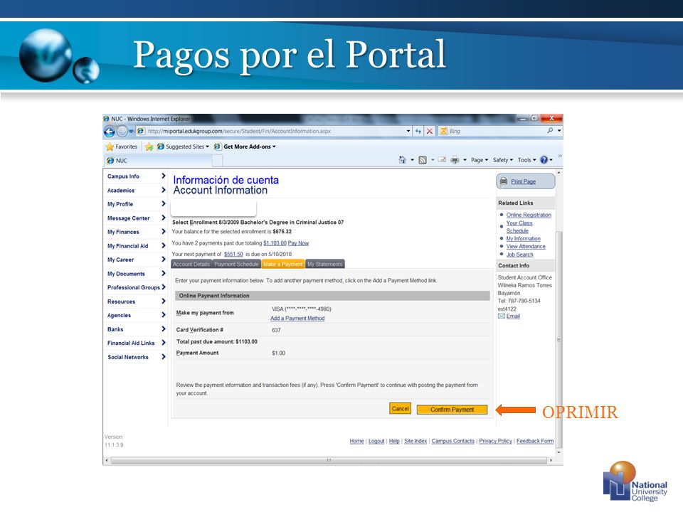 Pagos por el Portal OPRIMIR