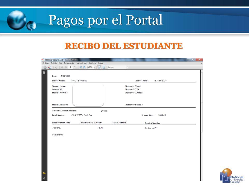 Pagos por el Portal RECIBO DEL ESTUDIANTE
