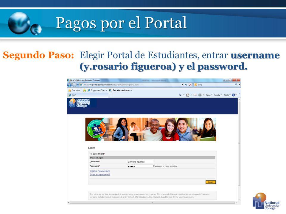 Pagos por el Portal Segundo Paso: Elegir Portal de Estudiantes, entrar username (y.rosario figueroa) y el password.