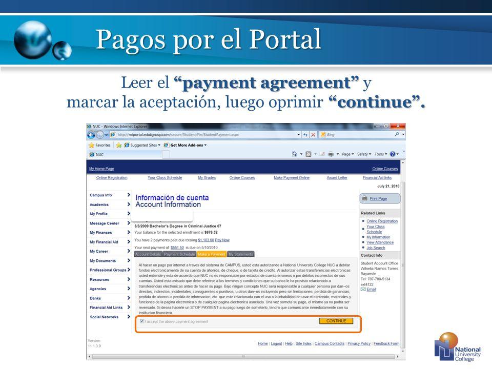 Pagos por el Portal Leer el payment agreement y