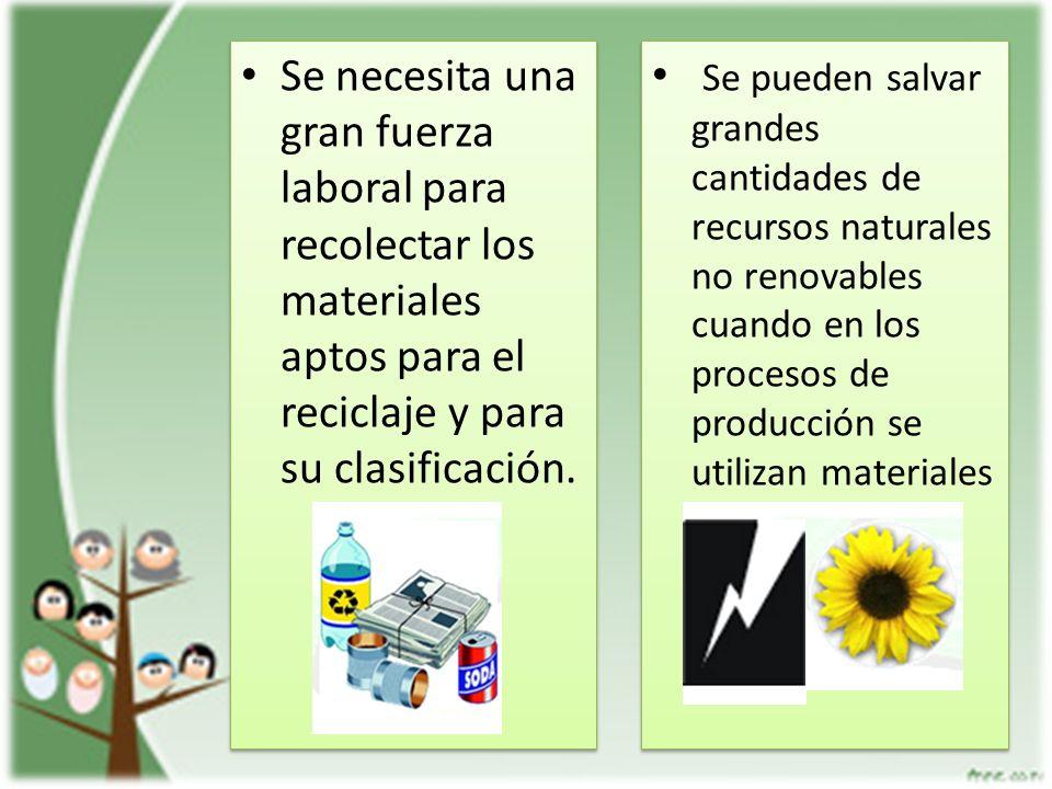 Se necesita una gran fuerza laboral para recolectar los materiales aptos para el reciclaje y para su clasificación.
