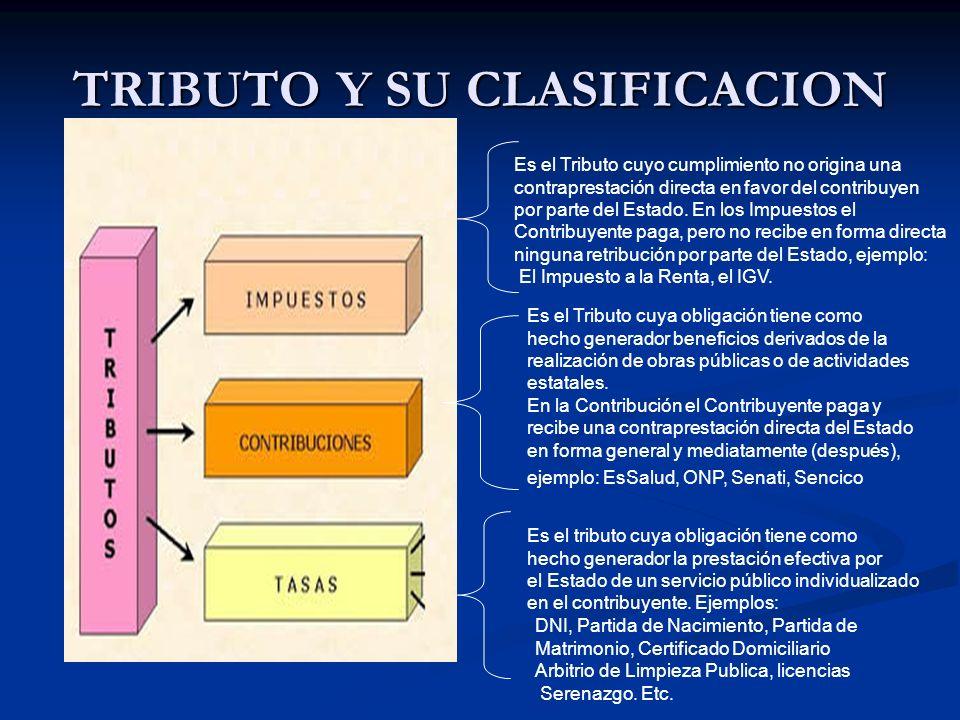 TRIBUTO Y SU CLASIFICACION