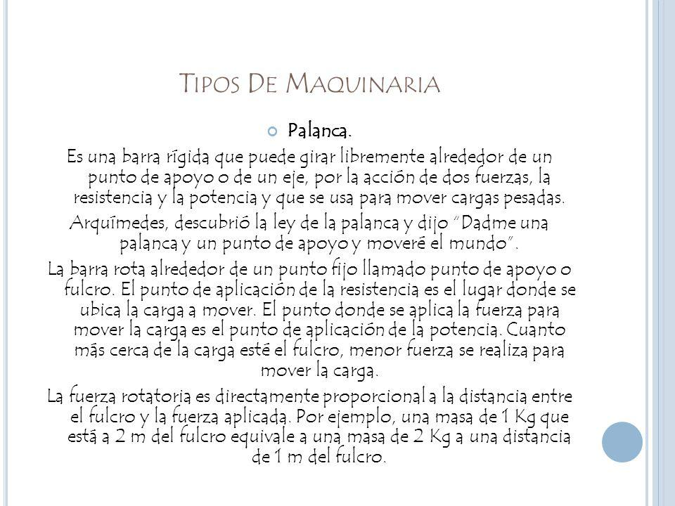 Tipos De Maquinaria Palanca.