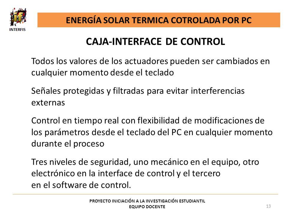 CAJA-INTERFACE DE CONTROL