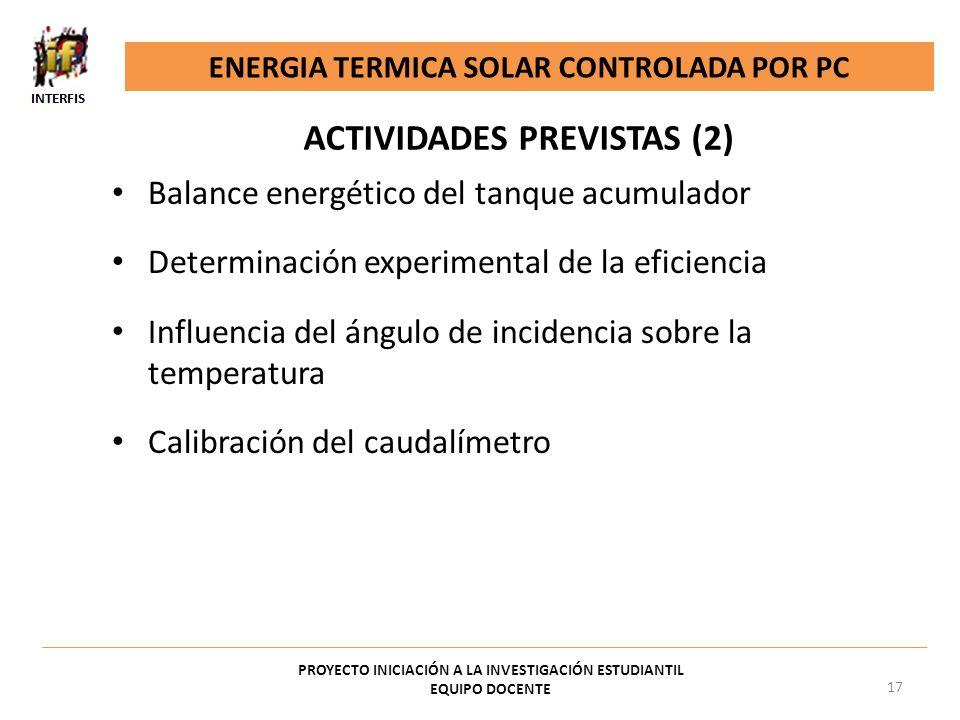 ACTIVIDADES PREVISTAS (2)