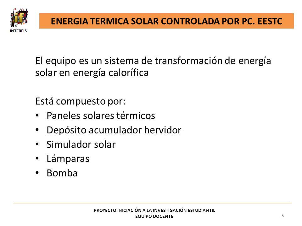 Paneles solares térmicos Depósito acumulador hervidor Simulador solar