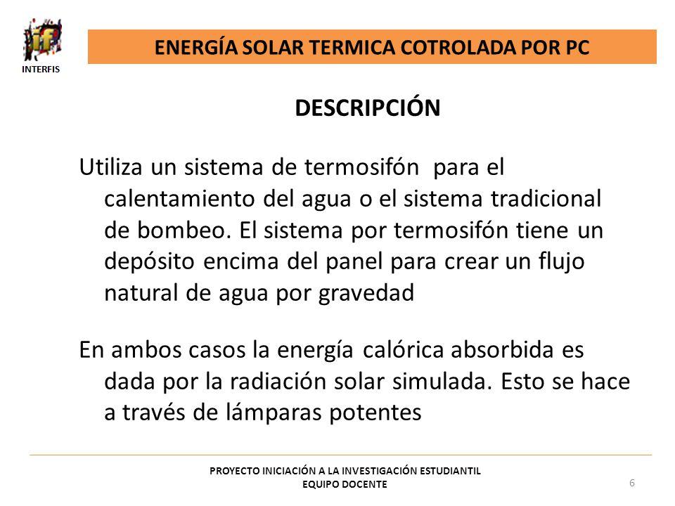 ENERGÍA SOLAR TERMICA COTROLADA POR PC