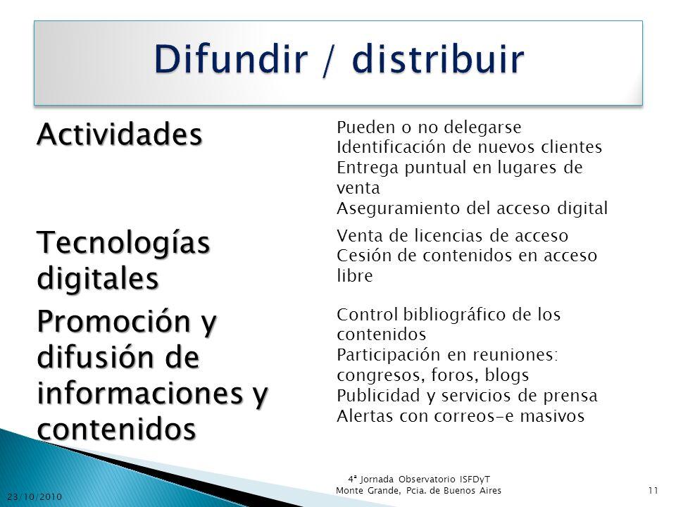 Difundir / distribuir Actividades Tecnologías digitales