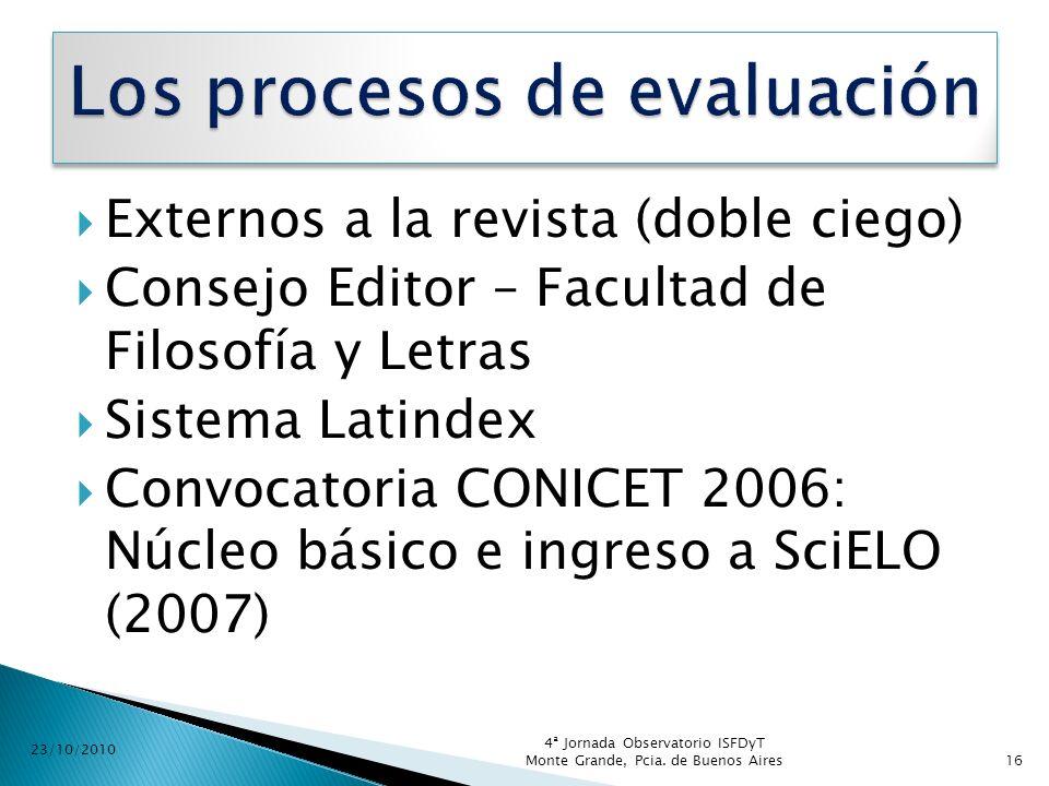 Los procesos de evaluación