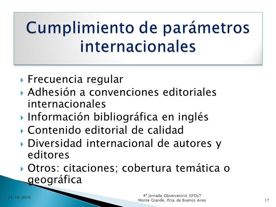 Cumplimiento de parámetros internacionales