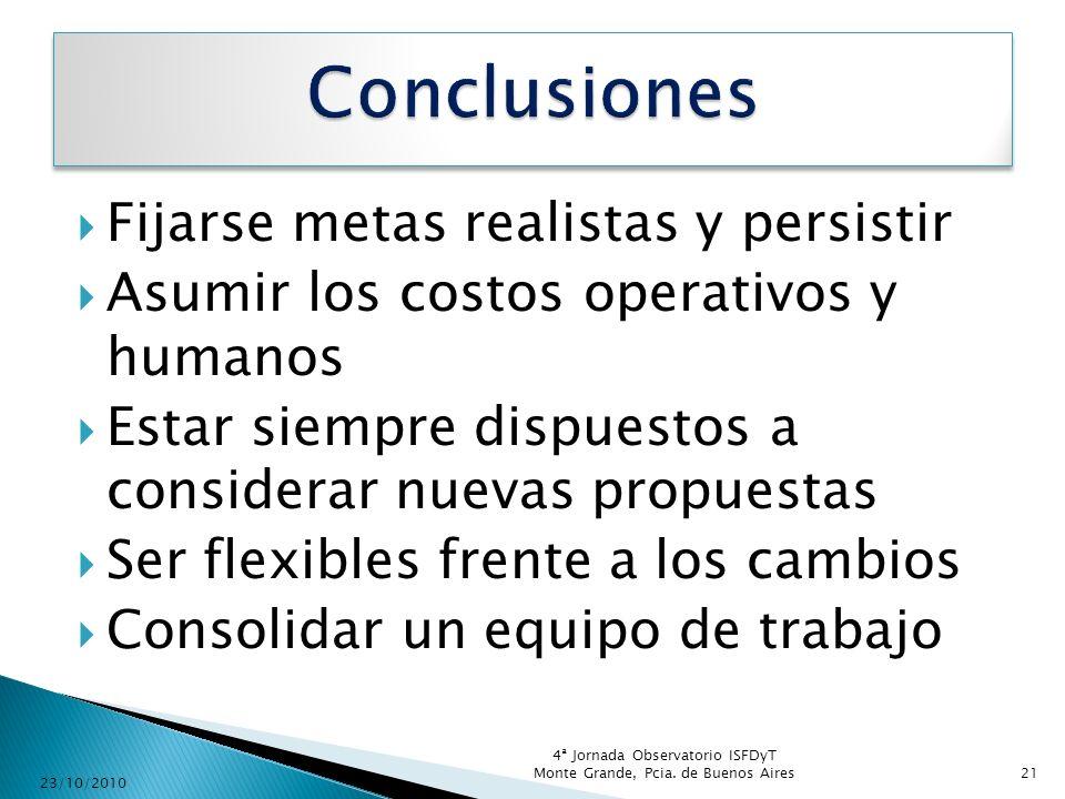 Conclusiones Fijarse metas realistas y persistir