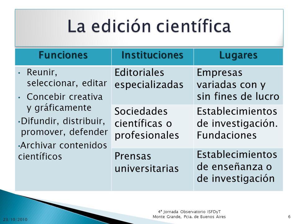La edición científica Funciones Instituciones Lugares