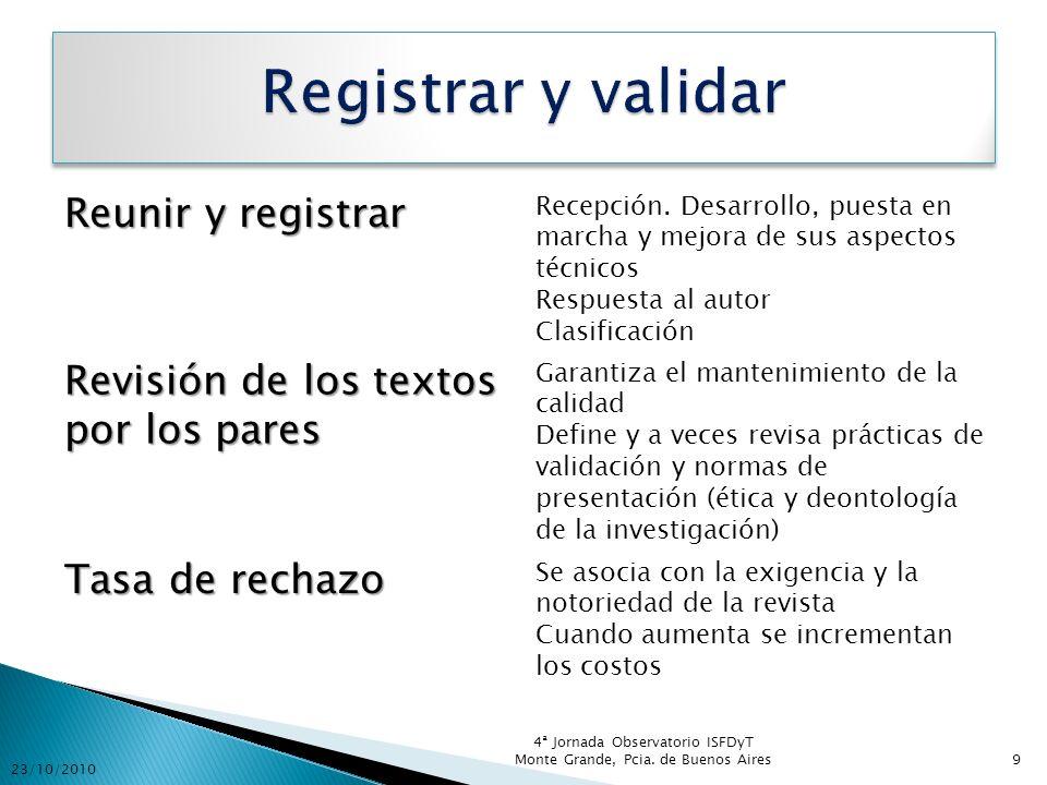 Registrar y validar Reunir y registrar