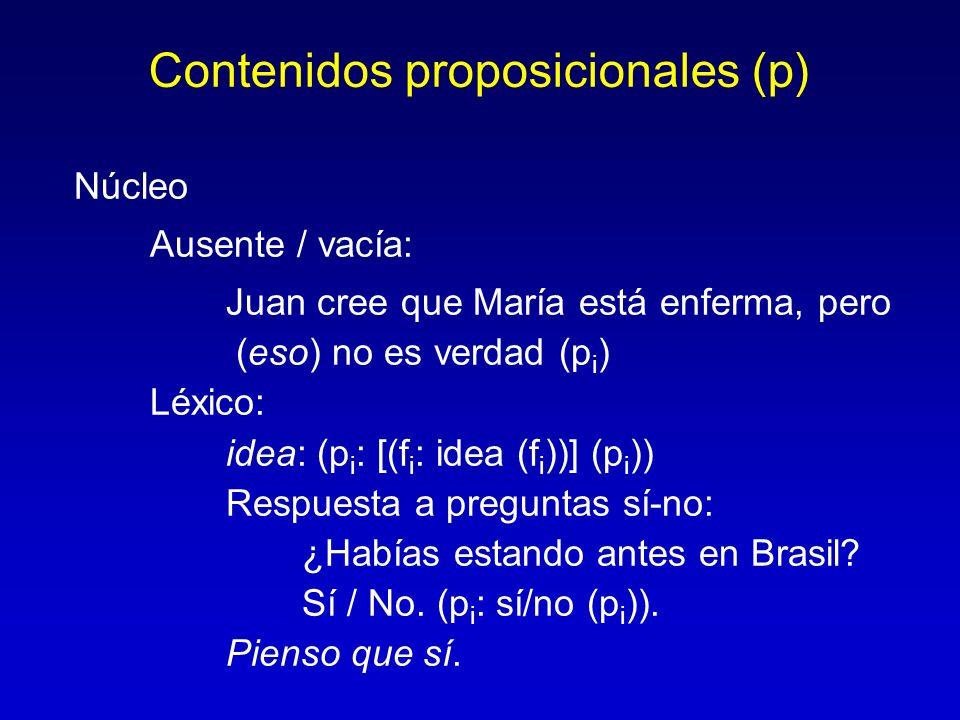 Contenidos proposicionales (p)