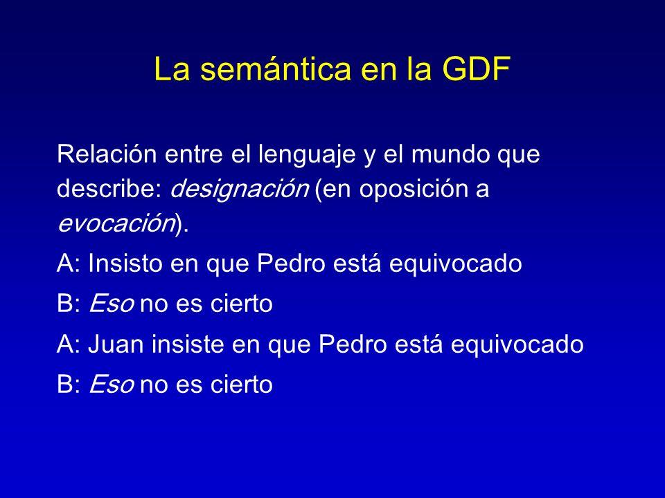 La semántica en la GDF Relación entre el lenguaje y el mundo que describe: designación (en oposición a evocación).