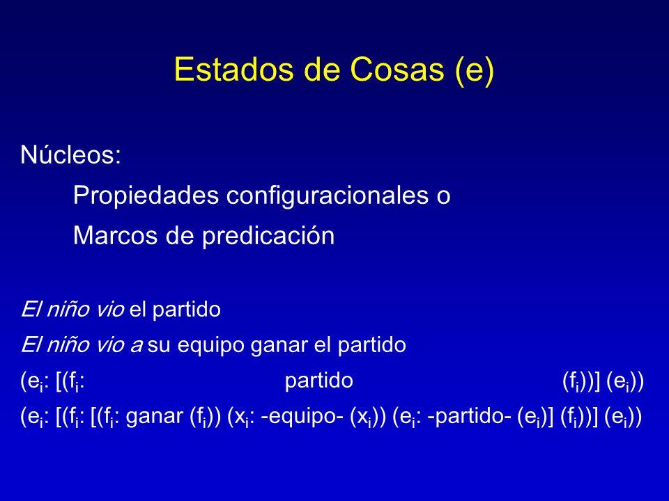 Estados de Cosas (e) Núcleos: Propiedades configuracionales o